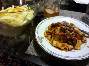 Dinner tonight: Lamb bolognese