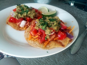 Braised chipotle chicken tostadas