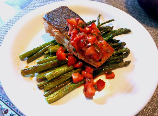 Crispy Salmon with Strawberry-Jalapeno Salsa